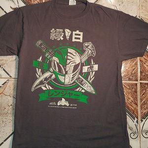 Green White Power Rangers Adult T shirt Tee Medium